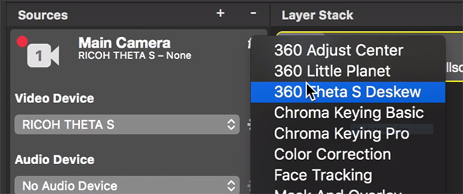 Preset configuration and filter for THETA S