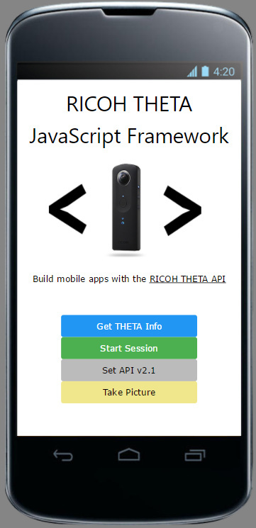 RICOH THETA Mobile App Dev with JavaScript - THETA API Usage