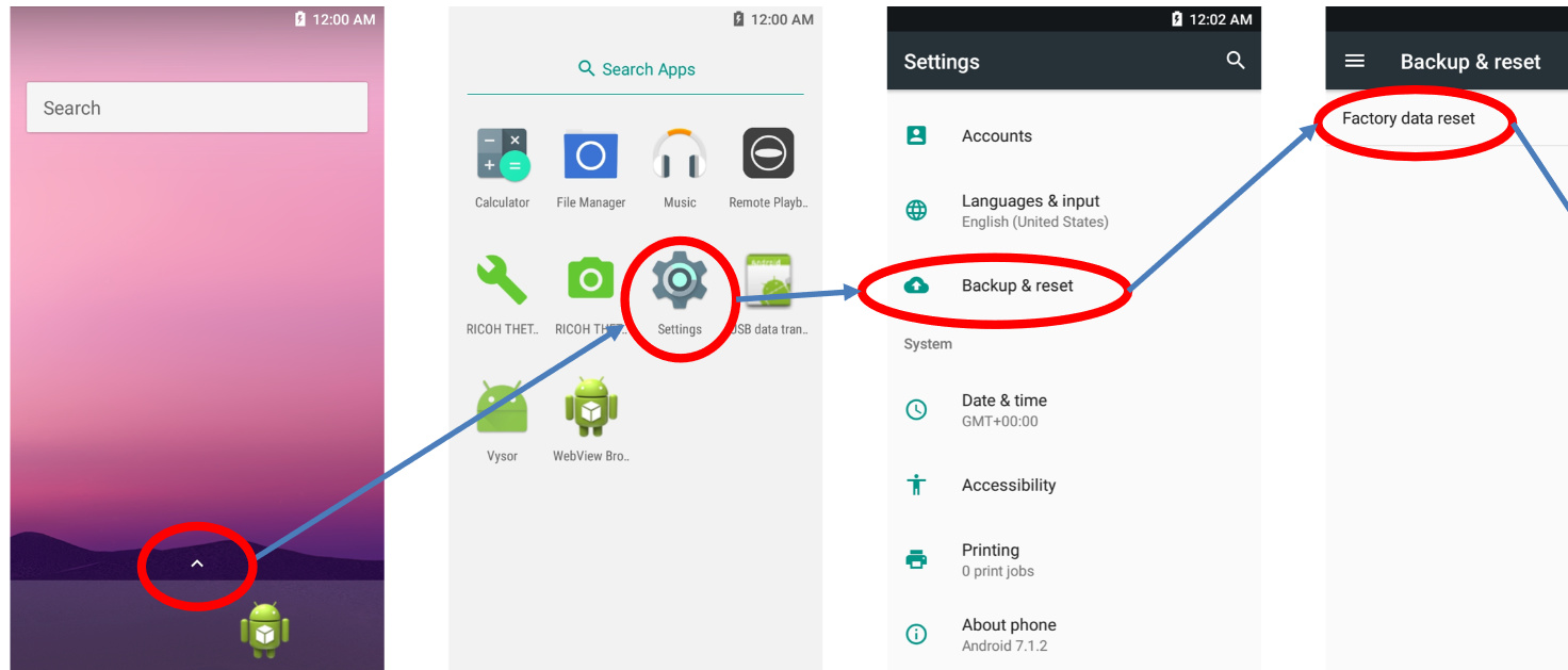 Factory Reset of RICOH THETA with Vysor - Ricoh Hardware and